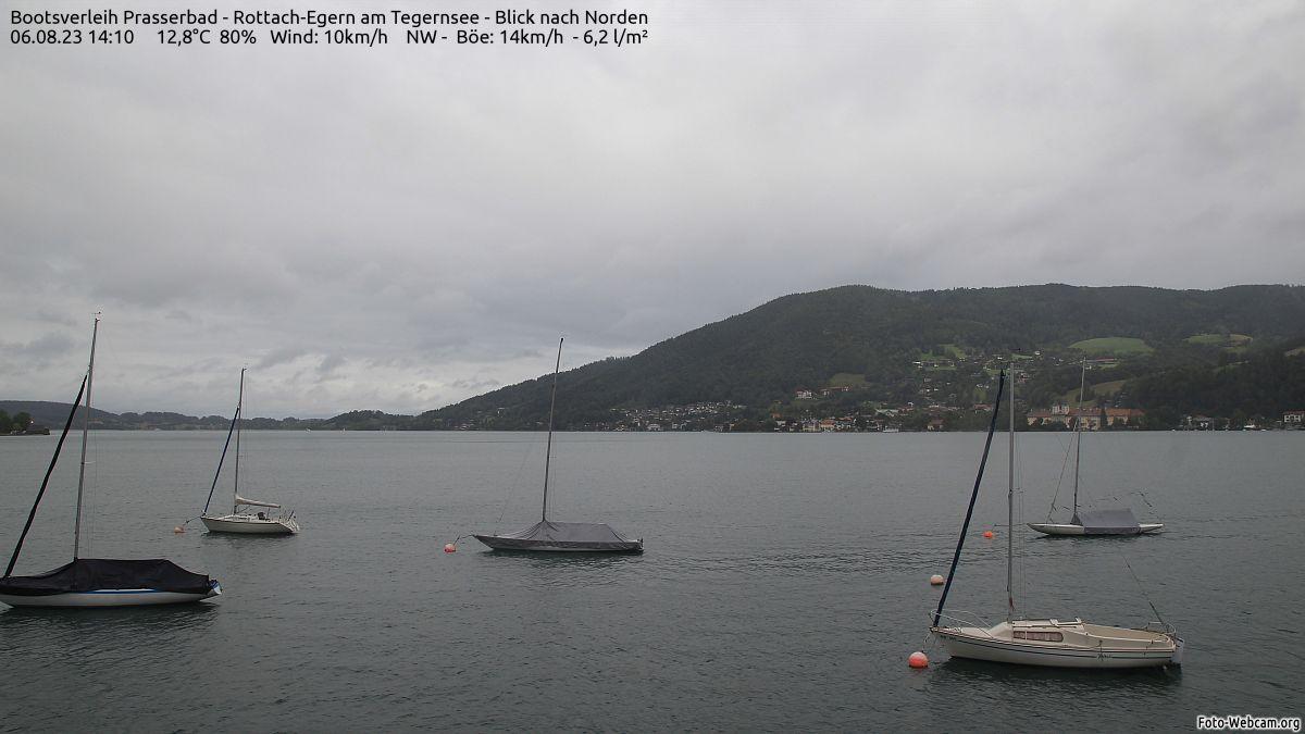 Tegernsee mit aktuellen Windwerten, Quelle: foto-webcam.eu